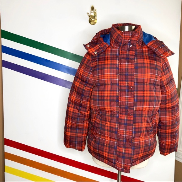 Urban Outfitters Jackets & Blazers - NEW Urban Outfitters Riley Plaid puff hooded coat